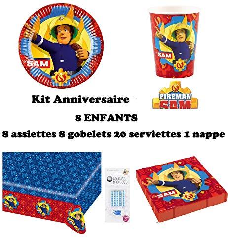 Set de Cumpleaños Completa Sam el Bombero 8 niños (8 Platos, 8 Tazas, 20 servilletas,1 Mantel + 10 Velas mágicas ofrecidas) Fiesta Mesa de decoración Novedad 2019