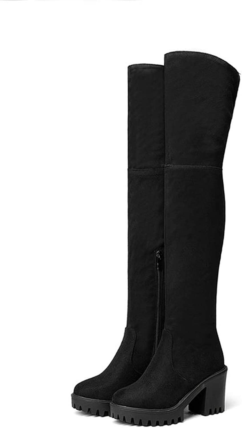 Over The Knee Boots Suede PU Fashion Round Toe Zipper Design Synthetic Solid Ladies shoes