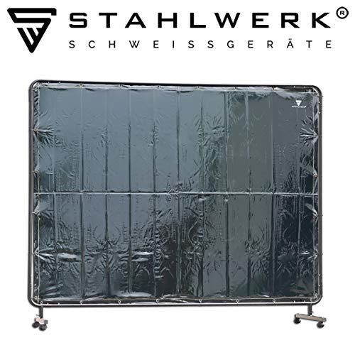 STAHLWERK Schweißschutzwand Schweißerschutzvorhang 2,4m x 1,8m mobil mit Rollen