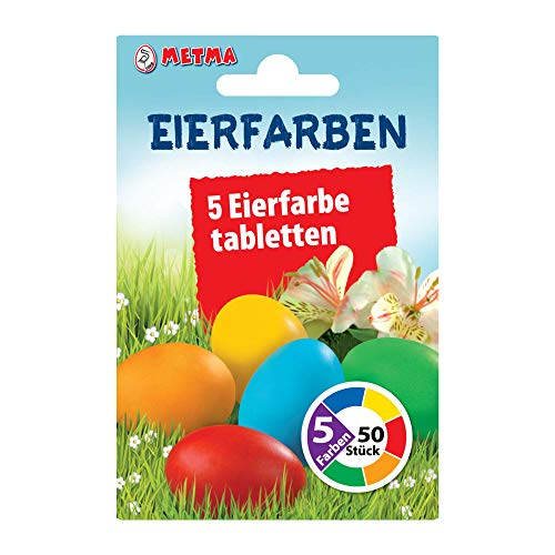 Metma B085 - Eierfarben, 5 Stück, Rot, Orange, Gelb, Grün, Blau, Warmfarben, Färbetabletten, Ostereier, Ostern