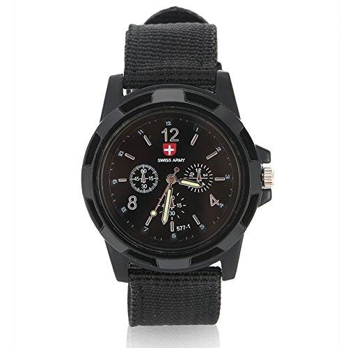 Orologi da uomo, Orologio da polso analogico elettronico, cinturino militare in nylon con cinturino rotondo(Black)