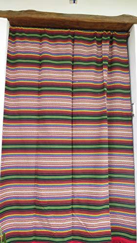 Cortina Alpujarreña Rustica,(160 x 215 cm), Arcoiris Color 627 Hecha en España, Fibra Natural de algodón - Cortina para Puerta Exterior mosquitera y Parasol + Alfombra Jarapa de algodón