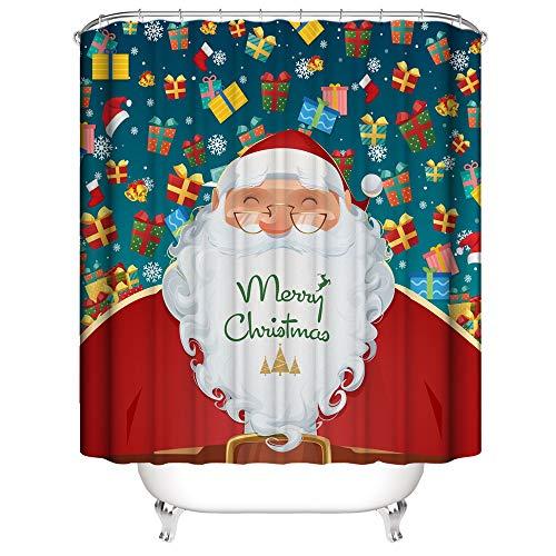 SearchI Duschvorhang Weihnachten Weihnachtsmann Anti-Schimmel, Duschvorhang Badezimmer, Wasserdicht, Anti-Bakteriell, Schnelltrocknend, 3D Digitaldruck, 12 Duschvorhangringe, 180x180cm