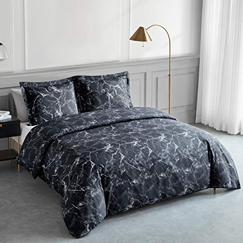 Bedsure Printed Duvet Cover Set Double Size Black Marble Pattern 3 pcs with Zipper Closure + 2 Pillowcases - Ultra Soft Hypoallergenic Microfiber Quilt Cover Sets 200x200cm
