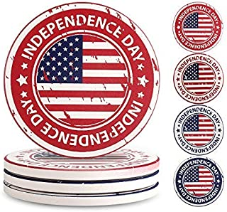 Ceramic Coasters for Drinks Absorbent USA Flag Table Art Decor Set of 4 for Cups Mugs Glass [並行輸入品]