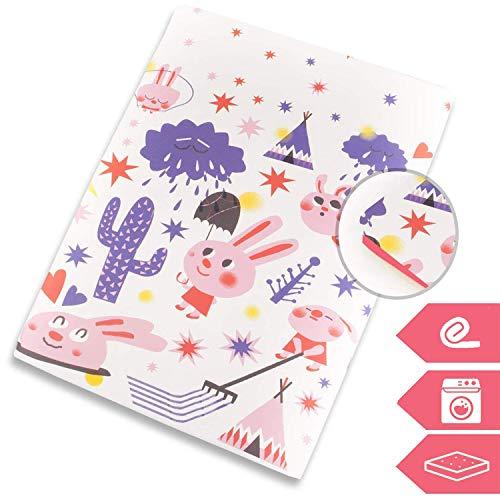 Manta de juegos para bebes suelo acolchada plegable enrollable gimnasio actividades alfombra 130x90 cm Fabricada en España (Pink Rabbit)