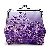 Violet Floral pépinière PU en Cuir Boucle exquise Porte-Monnaie Vintage Pouch Classique Kiss-Lock Changement Sac à Main Portefeuilles Cadeau