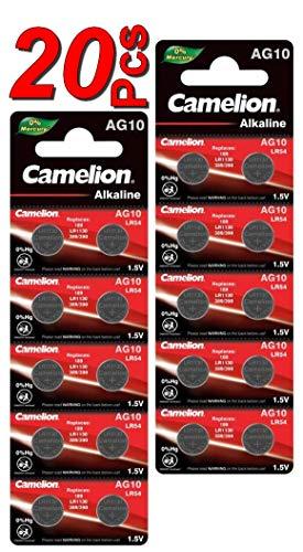LOT en Paquet 20 Piles Bouton alcaline LR1130 AG10 Liseuses, Montres, calculatrices, caméras, pointeurs sans Mercure