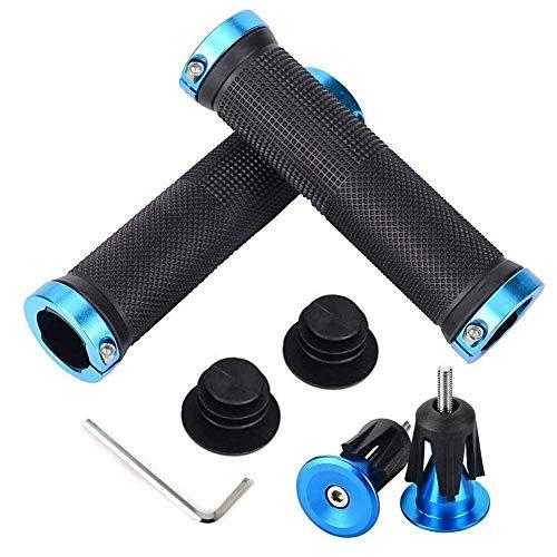 1 par de empuñaduras para manillar de bicicleta, diseño ergonómico con anillo de bloqueo bilateral, diámetro antideslizante, 30 mm, para bicicleta de montaña, bicicleta de montaña, color azul