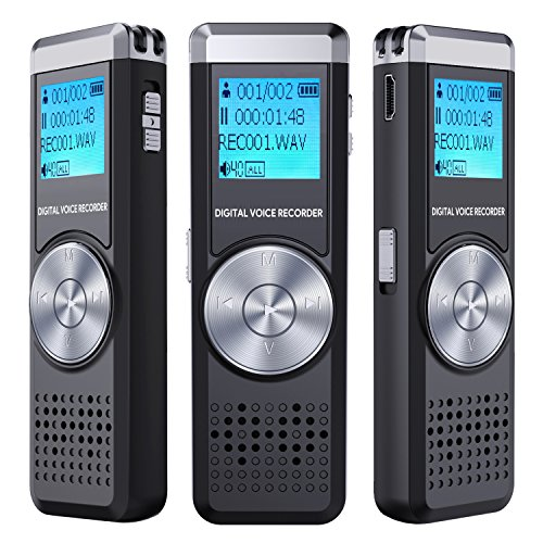 Digital Voice Recorder, TENSAFEE 8GB Audio Voice Activated Recorder Rechargeable, Portable Dictaphone Sound Recorder MP3 Player for Lectures/Meetings/Interviews/Class (Black2)