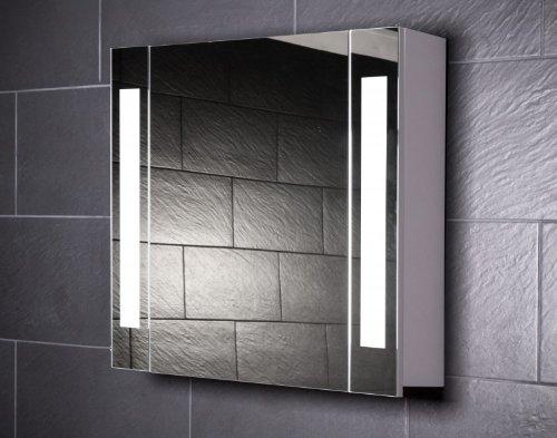 Galdem Spiegelschrank CURVE80 / Kleiner Badezimmerschrank 80cm / 1 türig/mit Trendiger Beleuchtung T5 Leuchtstofflampe/Softclose Funktion/Steckdose/Badezim