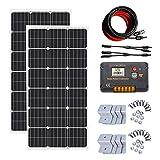 ECO-WORTHY 200W ソーラーパネル発電キット: 2個 100W 単結晶ソーラーパネル 10m ソーラーケーブル(5m 赤 5m 黒) 20A チャージコントローラー Y 型コネクター Z 取付金具