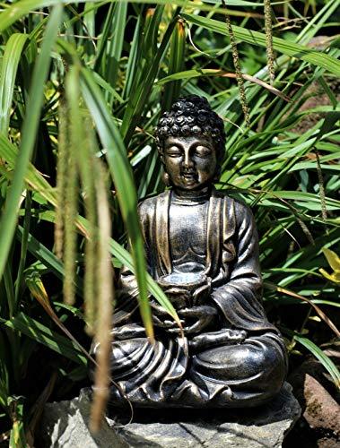 HH Home Hut Garden Ornament Solar Buddha Brass Effect Outdoor Indoor Statu
