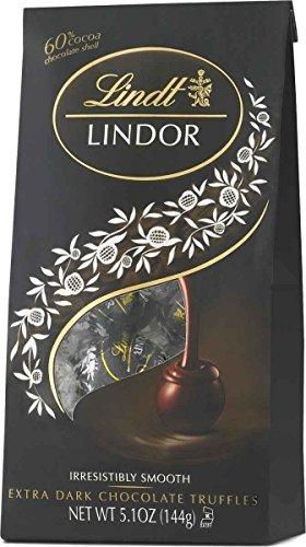 Lindt LINDOR 60% Extra Dark Chocolate Truffles, Dark Chocolate Candy with Smooth, Melting Truffle Center, 5.1 oz. Bag (6 Pack)