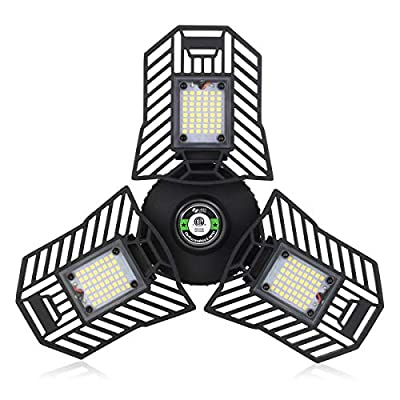 Garage Led Ceiling Lights Deformable 60W Screw in LED Garage Light 6000Lumen 6000K Three Leaf Garage Light for Garage… - 【Super Bright-Say Goodbye to Darkness】Featuring Led technology, this 3 leaf garage light offers 6,000 lumens output, 6,000K color temperature with no ghosting, glaring or dark areas and providing you only the best indoor lighting experience. NOTE: this adjustable garage light is NOT DIMMABLE and NOT WATERPROOF, only be used for indoor. 【Multi-Angle Adjustments for Optimized Lighting】 Unique wide-angle design offers 90-degree adjustment to each wing so you can distribute light according to your needs. With this illuminator 360 garage light allows you to light up your garage, warehouse, basement, barn, station, workbench without blind spot. 【85% Energy Saving & Long Lifespan】 Equipped with SMD 2835 LED chips, bigger emitting area, more brightness, efficient and energy saving. Constructed from premium Aluminum alloy, this garage lighting is resistant to corrosion and high temperature and its advanced cooling system ensure safer and longer use. - kitchen-dining-room-decor, kitchen-dining-room, chandeliers-lighting - 51gvwjwfa5L. SS400  -