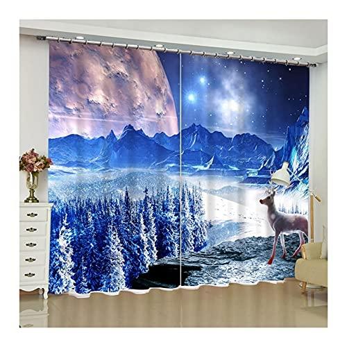 Beydodo Cortina Poliester Exterior Cortina Dormitorio 2 Piezas,Ciervo con Bosque y Montaña,Azul Cortinas 214x214CM