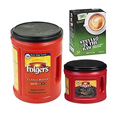 Folgers Coffee Bar Combo 1-48oz Classic Roast Coffee, 1-24.2oz Black Silk Coffee Canisters Plus Plus 50ct Stevia In The Raw from Stevia in the Raw