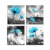 non-brand 4 Paneles Cuadro Pinturas de Paisaje Colgar en Pared Decoración para Hogar Casa - Flor Azul