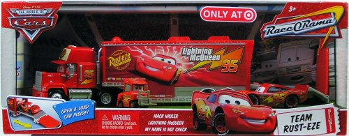 Disney / Pixar CARS Movie 1:55 Die Cast Car Series 4 Race-O-Rama Exclusive Team Rust-Eze (Mack Hauler, Lightning McQueen and My Name is Not Chuck) by Mattel