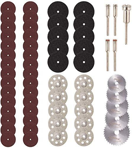 60Pcs Cutting Wheel Set for Rotary Tool - JUEMEL 545 Diamond Cutting Wheel, HSS Circular Saw Blades, Resin Cutting Disc with Mandrels for Wood Glass Plastic Stone Metal