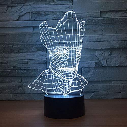 KangYD Luz de la noche de la estatua 3D de la cabeza del hombre del árbol, lámpara de la ilusión óptica del LED, F - Base de audio Bluetooth (5 colores), Lámpara de ambiente, Lámpara cálida