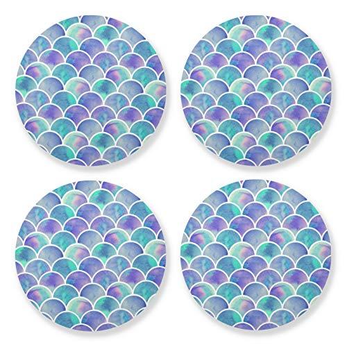 xigua 4 posavasos redondos para bebidas, resistentes al calor, con base de corcho, ligeros para mesa, tapete protector de mesa, para tazas, escamas de peces aguamarina