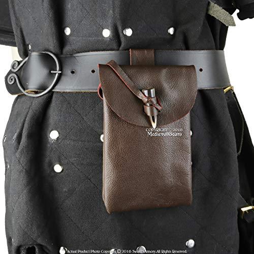 Medieval Gears Brown Renaissance Fair Costume Leather Belt Pouch Money Bag Horn Toggle Historical Accessories LARP