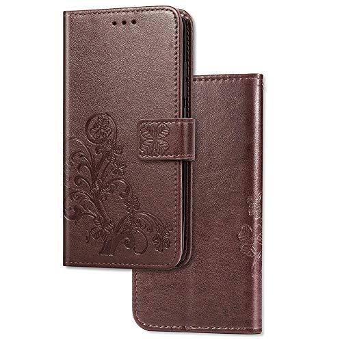 COTDINFOR Etui für Nokia 2.2 Hülle PU Leder Cover Schutzhülle Magnet Tasche Flip Handytasche im Bookstyle Kartenfächer Lederhülle für Nokia 2.2 Clover Brown SD