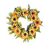 LJYY Guirnalda de Girasol de Verano, 16 Pulgadas, guirnaldas de Verano y otoño, Flores de Primavera, Hojas Verdes, Guirnalda Verde para Puerta de Entrada al Aire Libre, decoración de Pared o Vent