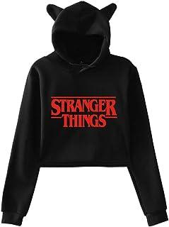 PANOZON Stranger Things Felpe con Cappuccio Stampa Figura di Stranger Things per Ragazze Tricolore Exposed Navel