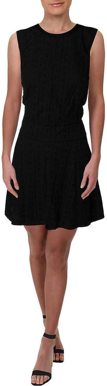 DKNY Womens Mini Eyelet Casual Dress