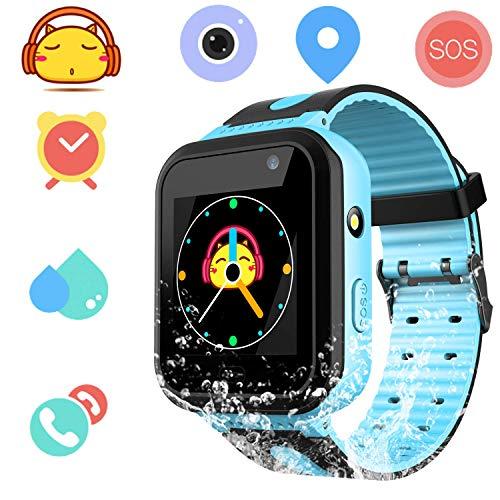 Smartwatch Impermeable para Niños Niñas - Reloj Teléfono con Localizador LBS Chat de Voz SOS Cámara Linterna Despertador Juegos Regalo Relojes Estudiante Smart Watch Compatibles con iOS Android,Azul