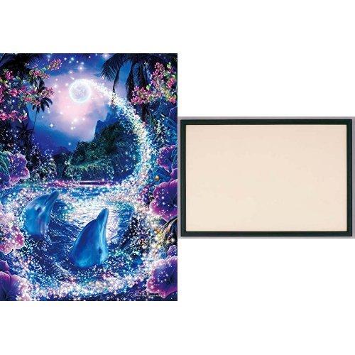 500ピース ジグソーパズル ラッセン ミスティック ワールド 【光るパズル】 (38x53cm) +木製パズルフレーム ウッディーパネルエクセレント ブラック (38x53cm)
