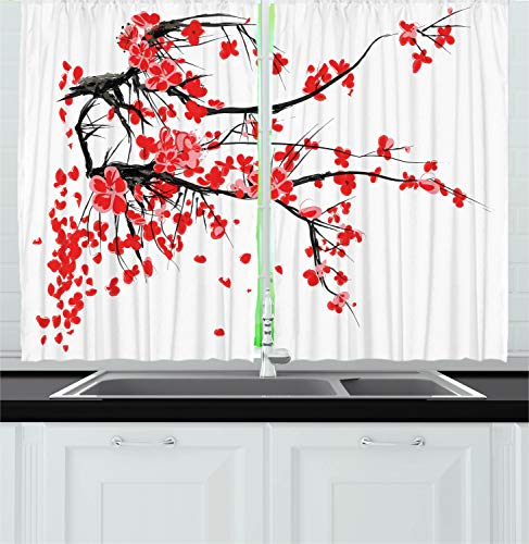 """Ambesonne Floral Kitchen Curtains, Japanese Cherry Blossom Sakura Blooms Branch Spring Inspirations Print, Window Drapes 2 Panel Set for Kitchen Cafe Decor, 55"""" X 39"""", White Vermilion"""