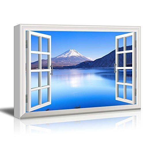 wall26 Window View Canvas Wall Art - Peaceful Blue Lake and Mountains - Giclee Print Gallery Wrap Modern Home Art Ready to Hang - 24x36 inches