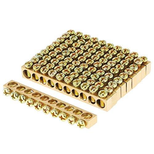 Erdungsschiene, Erdungsstange 10 Stücke 10 Loch Stromverteilerdraht Schraubklemme Messing Neutral Bar Reihenklemme, M5 Schraubengröße, für PE30 Verteilerkasten, Verteilerschrank