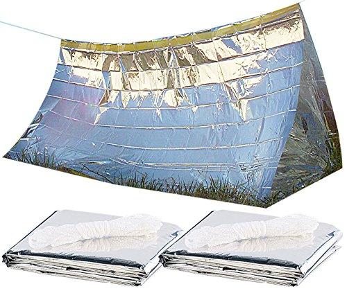 Semptec Urban Survival Technology Not-Zelt: 2er-Set Notfall-Zelte für 2 Personen, hitzeabweisend, kältedämmend (Notfall-Zelt-Decke)