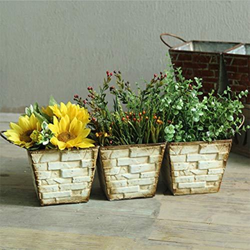 Driehoekige Tuin Bloempot, Smeedijzer, Rechthoekige Moderne Keramische Succulent Bloempot, Voor Binnen En Buiten Vensterbank,White