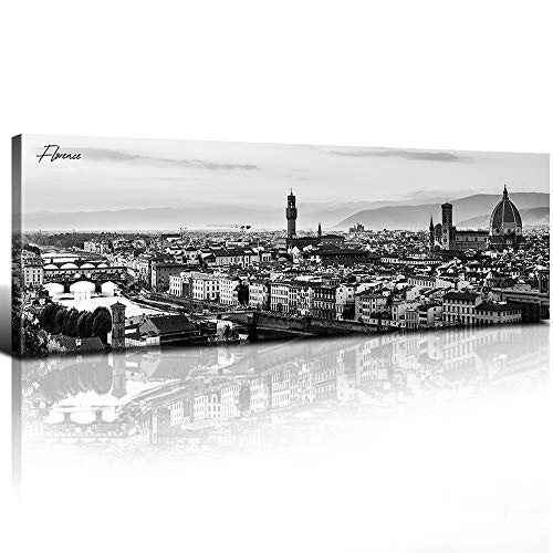 "sunfrower - Florence Skyline Decor Wall Art Canvas Black and White Night View Italy Cityscape Panoramic Prints Painting Urban Landscape Picture Modern Bedroom Framed Decoration 14"" x 48"" x 1"