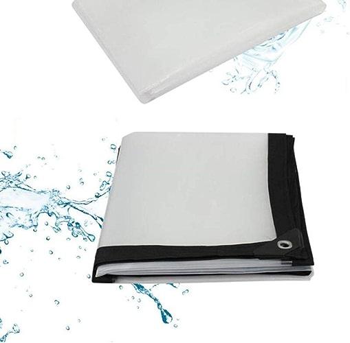 GUOF Bache imperméable Transparente Bache Transparent épaississant Liseret Plastique poreux bache imperméable fenêtre Balcon Culture de Serre Film Housse de Pluie Anti-poussière (Taille   4x6m)