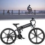DDCHH Bicicleta de Montaña Eléctrica de 26' 500W Bicicletas Electricas Plegables con Batería 48V 10Ah, 21 Marchas y Motor Trasero 35km/h, Horquilla de Suspensión,Black