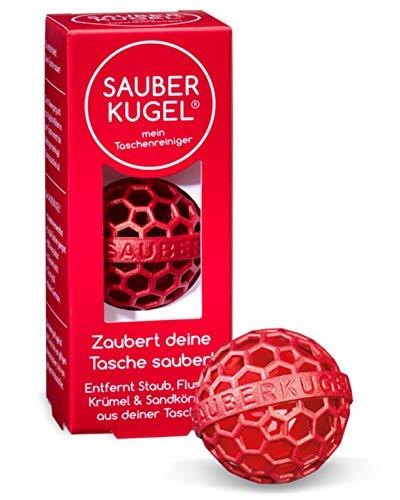 SAUBERKUGEL® für die Tasche | Rot | Wiederverwendbarer Taschenreiniger für Handtasche, Schulranzen & Rucksäcke | Nimmt Schmutz, Krümel & Flusen auf | Silikon- und PVC frei | Made in Germany (3,5 cm)