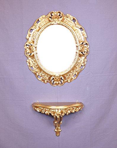 Ideacasa Consolle Oro + Specchio Ovale Dorato Stile Barocco Finto Vintage - Specchio cm 45x39