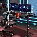 Himimi 60'' Gaming Schreibtisch, 152 x 71 x 76cm Ergonomischer Gaming Tisch, T-Form Gaming Computertisch PC Schreibtisch Gamer mit großer Mauspad, Becherhalter, Kopfhörer-Haken & Kabelmanagement - 2