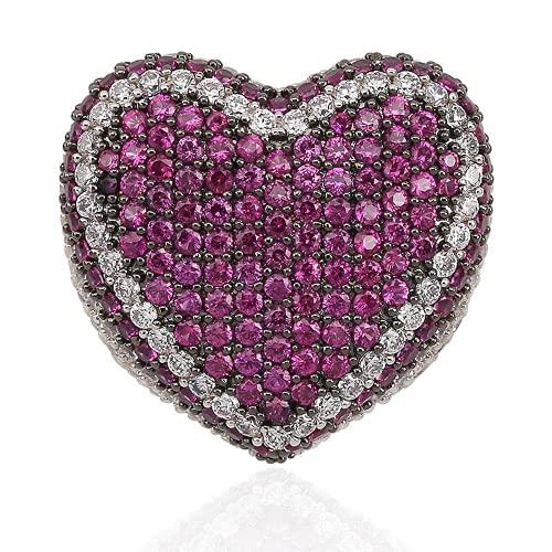 KMASAL Anillo de boda de diamante de laboratorio con corazón de amor para hombre y mujer, chapado en platino real plateado