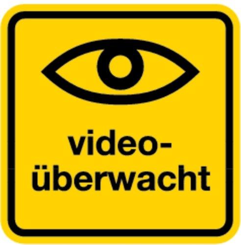 Aufkleber Videoüberwacht mit Symbol Auge, Folie selbstklebend 100x100mm (Videoüberwachung, Überwachungskamera) praxisbewährt, wetterfest