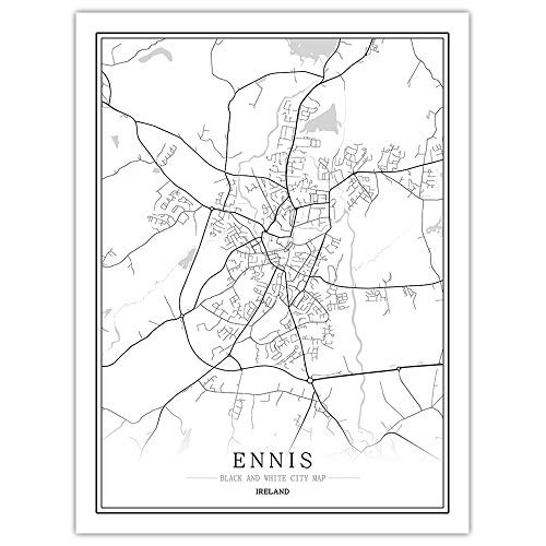 peng Prints Canvas, Ireland Ennis City Map Black White Simple Minimalist Art Mural Poster Frame less Picture,Modern Vertical Painting Cafe Office Home Decor,40 * 50cm