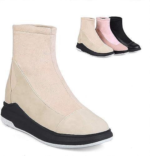 Fuxitoggo botas para mujer - botas Gruesas Aumento de Botines de Costura botas Gruesas de Terciopelo cálido botas estudiantiles 34-43 (Color   Buff, tamaño   39)