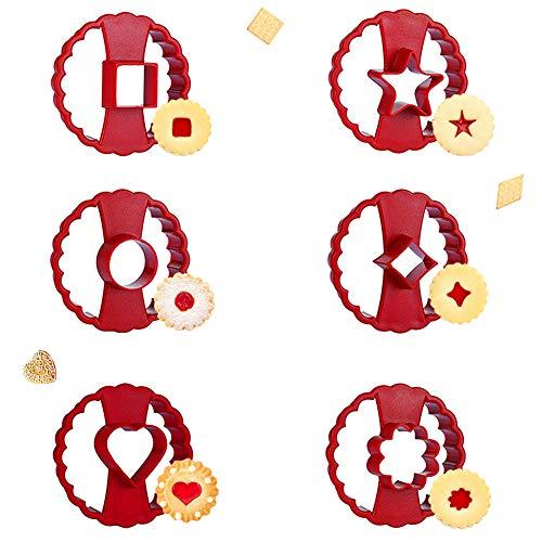SUNSK Emporte Piece Biscuit Moule à Biscuits en Fleur Emporte-Pièces en Forme de Cœur Étoile Cercle Moule Donuts Décoration de Gâteau Fondant Cookie Pâtisserie 6 pièces