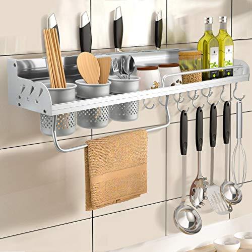 Estantería para especias de 70 cm de aluminio para cocina, estante multifunción para especias, soporte para sartenes, organizador de pared con 10 ganchos y 3 ranuras para tazas, para cocina, plata